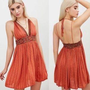 Kimchi Blue Dark Orange Halter Dress